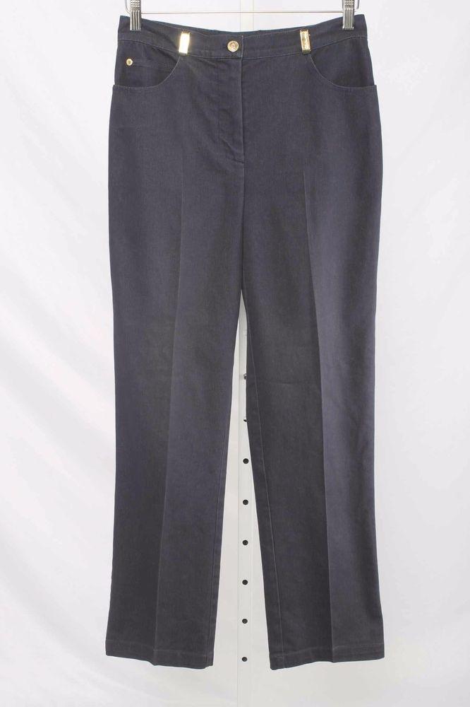 St. John Sport Size 4 Dark Blue Stretch Denim Straight Leg Pants 1756 T117    eBay