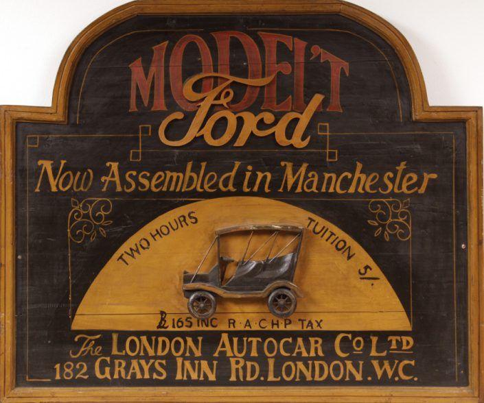 Vintage-Werbeschild, Holz, polychrom gefasst, Model´t Ford