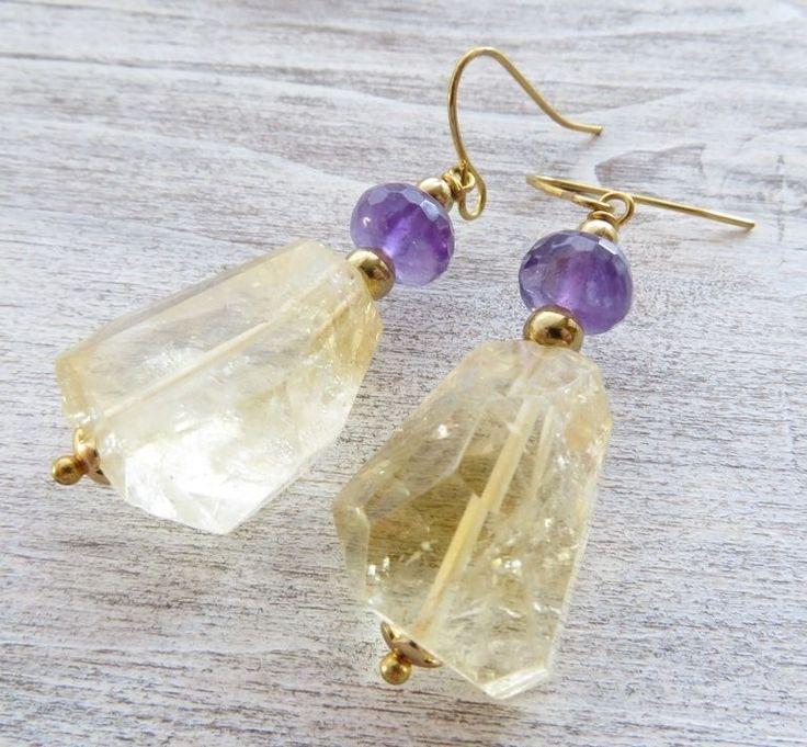 Orecchini con citrino giallo e ametista viola, gioielli fatti a mano bijoux