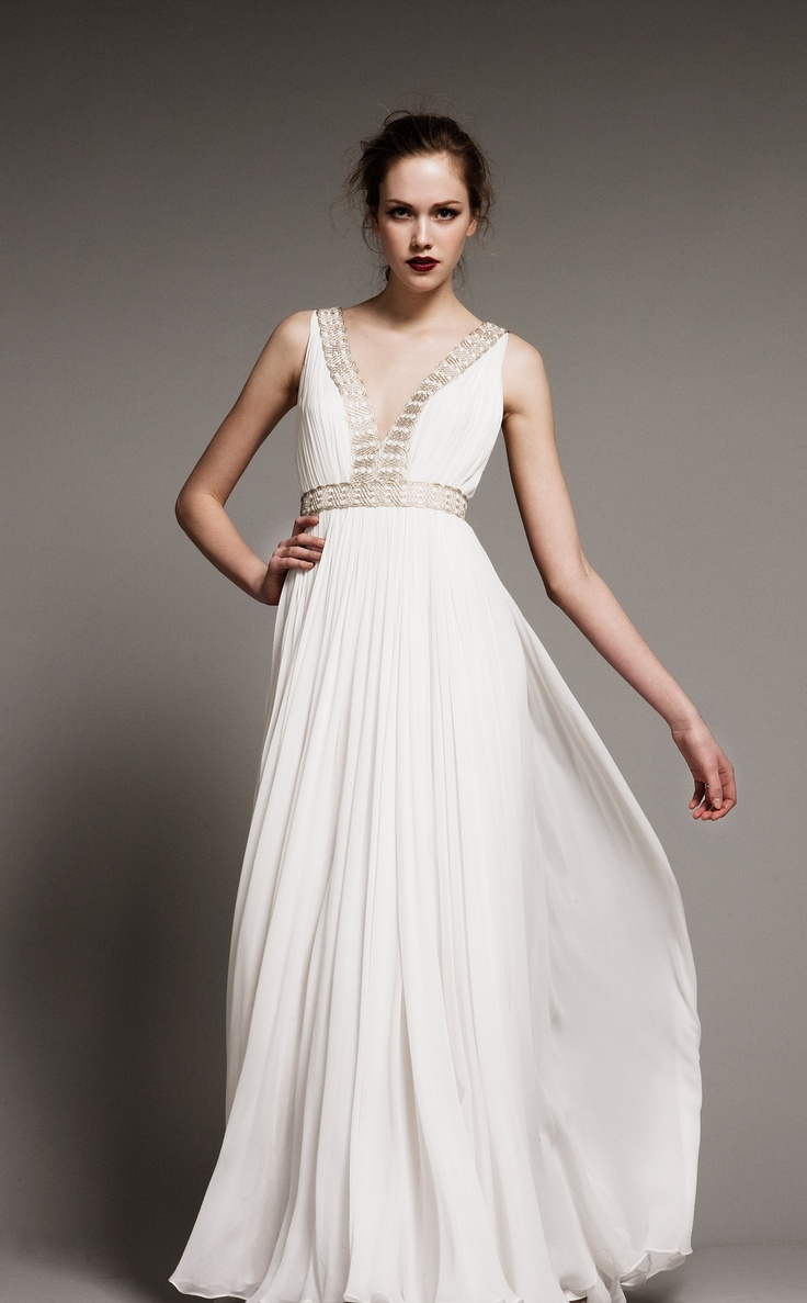 the greek wedding dress grecian style wedding dresses Wanna look like a Greek goddess Choose a Grecian styled wedding gown Flowing with airy silhouettes and from light fabrics these dresses are gorgeous