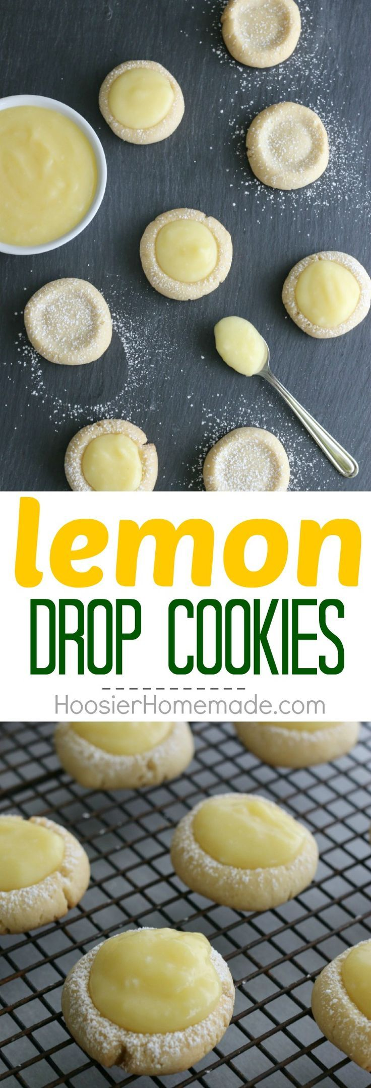 Lemon Drop Cookies - buttery cookies filled with homemade lemon curd! Perfect for Easter Dessert, a Spring treat, and are perfect for a baby or bridal shower! Pin to your Recipe Board!