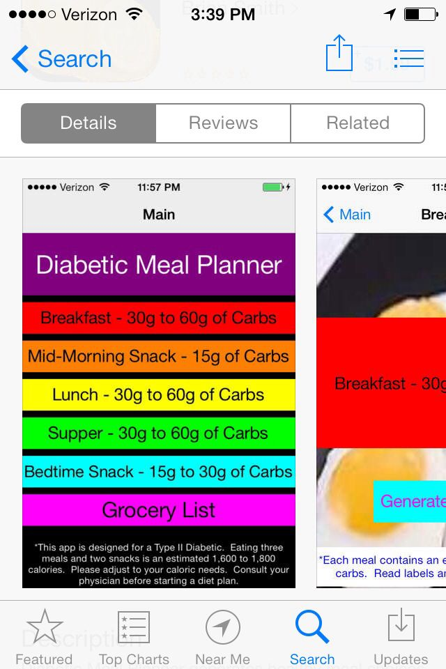 Diabetic meal planner/ low carb diet available in the app