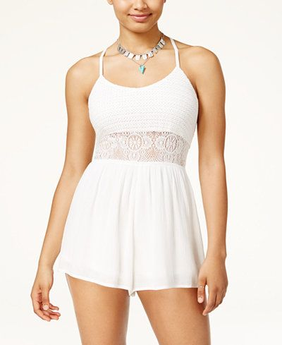 American Rag Juniors' Illusion-Lace Romper, Created for Macy's
