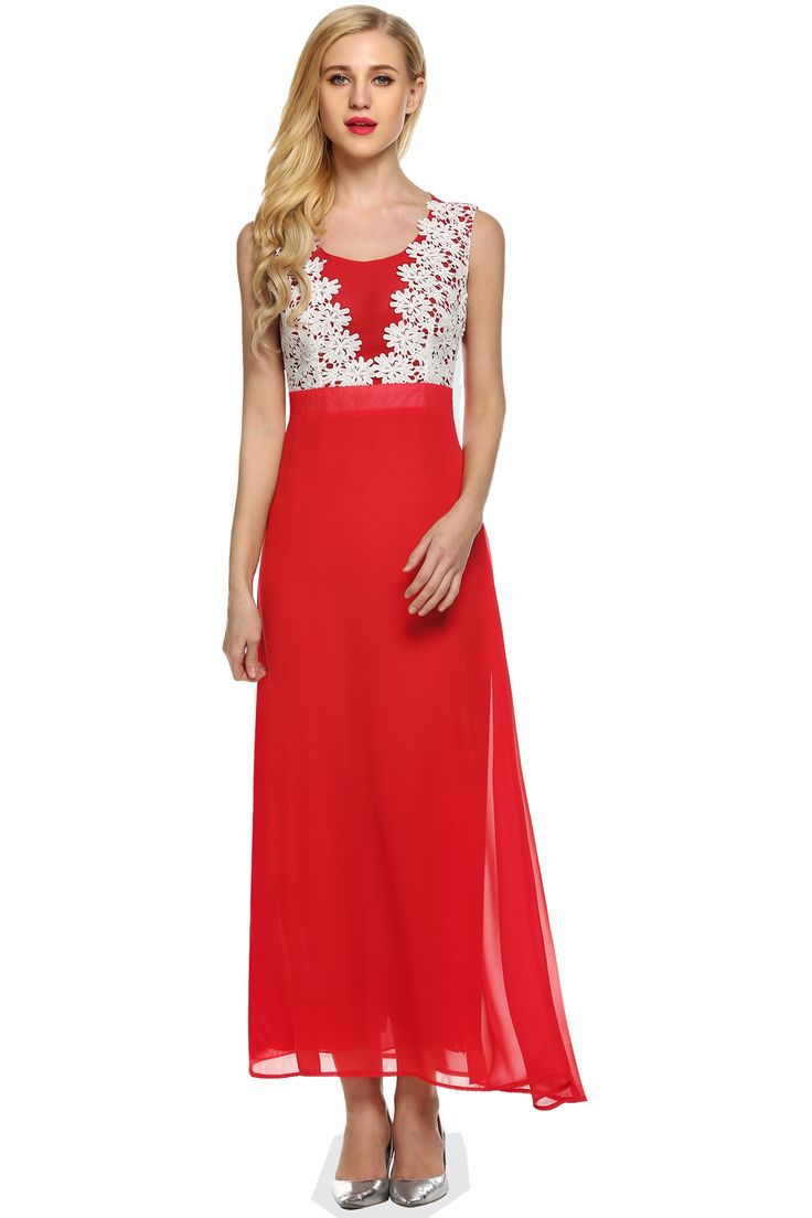 O-neck Floor Length Bridesmaid Lace Patchwork Prom Evening Dress
