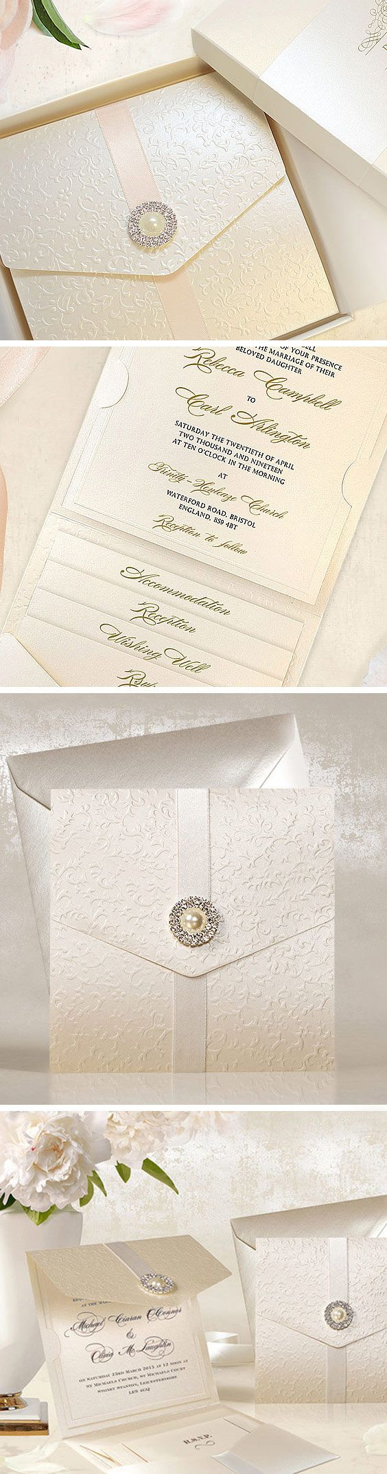 Ivory luxury wedding Invitations made of shimmer design card stock with the embossed brocade texture. The card is decorated with an exquisite brooch and elegant satin ribbon.