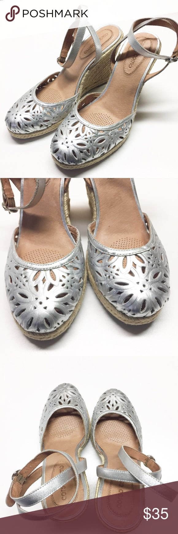 Corso Como Silver Espadrille Wedge Sandals 6.5 Corso Como Metallic silver Espadrilles wedge sandals. Size 6.5. EUC, very gently worn. Laser cut Floral pattern wrap around ankle strap. Clean foot beds. Corso Como Shoes Espadrilles