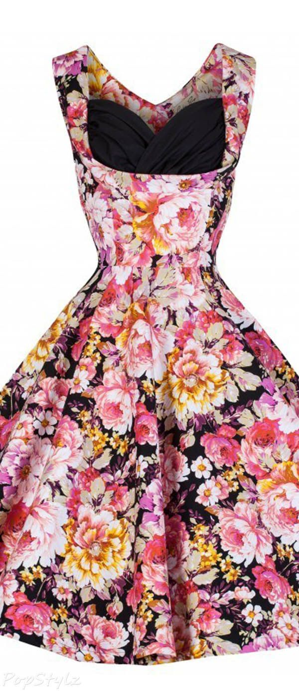 Lindy Bop 'Ophelia' Vintage 1950's Floral Spring Garden Party Picnic Dress