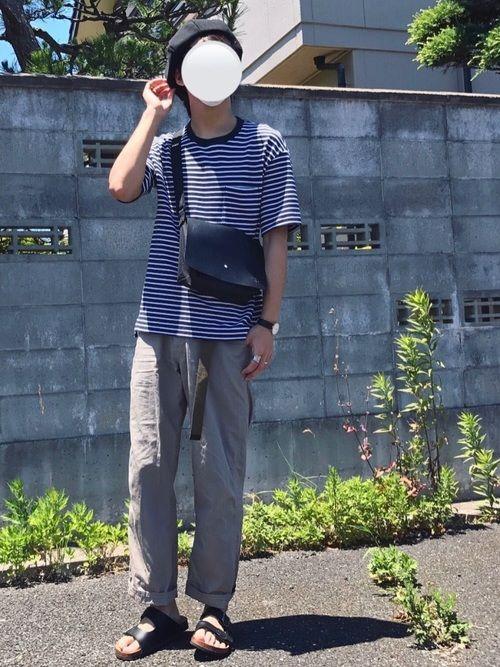 ゆる~く夏コーデ🤤 古着屋で買った、一見作業服かよっていうパンツも履いてみたら意外と可愛いの😇