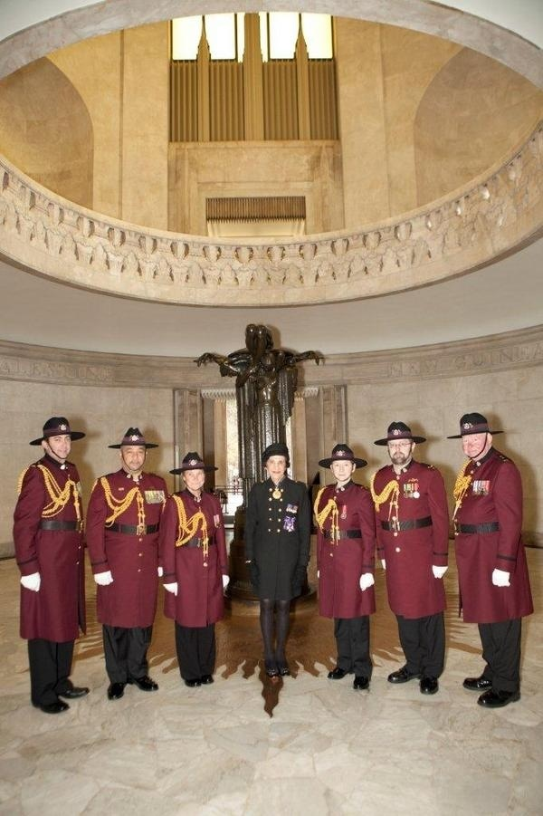 Her Excellency Professor Marie Bashir AC, CVO The Governor of New South Wales and representatives of the RSL Corps of Guards at the ANZAC Memorial.