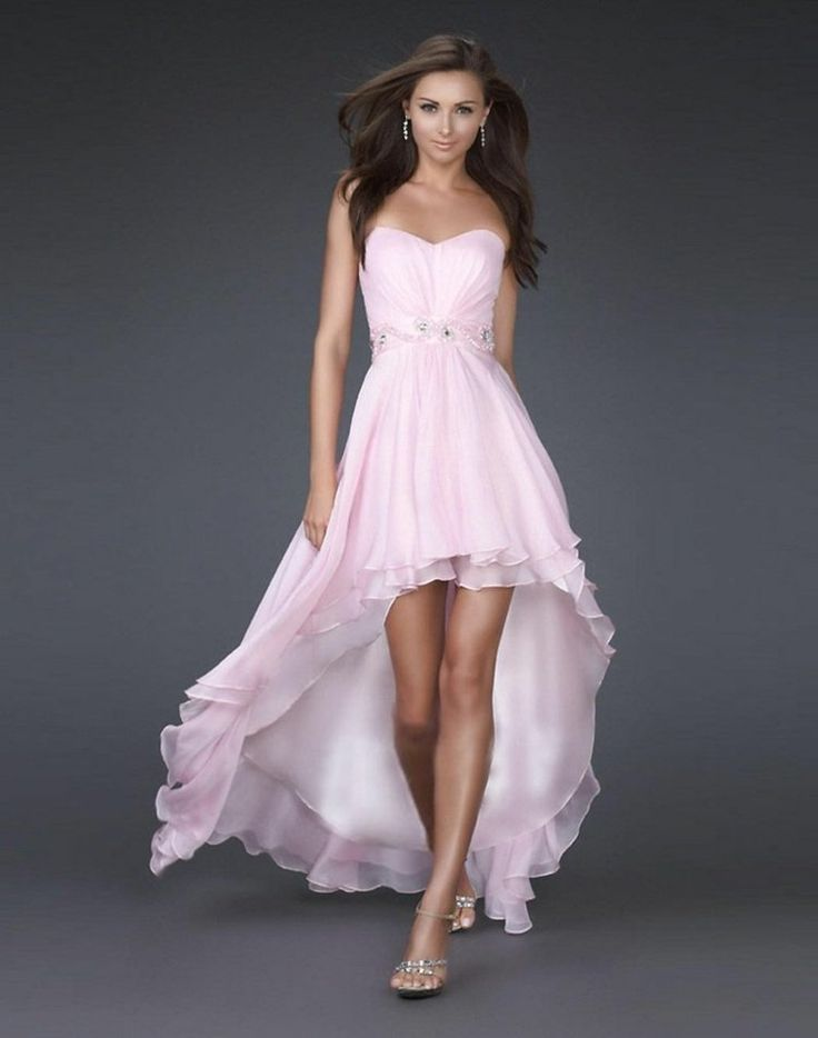 robe bal de promo courte devant longue derrière en rose pâle