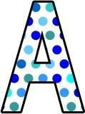 Free printable shades of blue polka dot background instant display lettering sets for classroom bulletin board display.