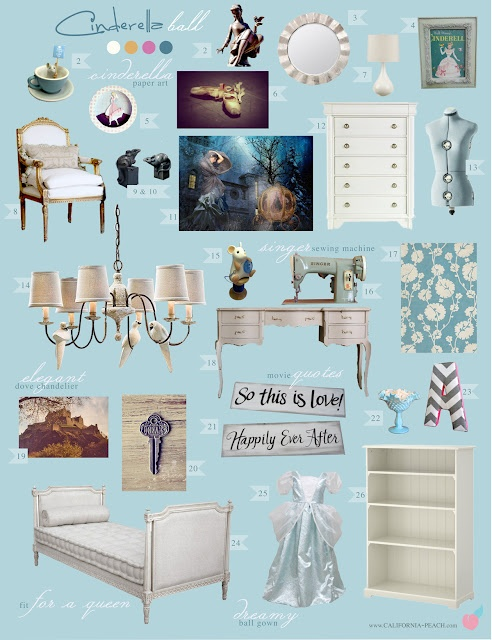 Cinderella Ball - Bedroom -- Blue, Girl, Mice, Doves, Dreams, Dream, Classic, Classical, Fairy Tale, Cinderella, Disney, Traditional, Toddler Room, Toddler Bed, Twin Bed, Kids, Kid, Nursery, Baby Room, Baby, Nursery, Blue, Off-White, White, Light, Girl, Feminine, Art, Baby Room, Nursery, Style Board
