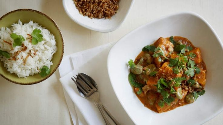 Pumpkin and broad bean coconut curry