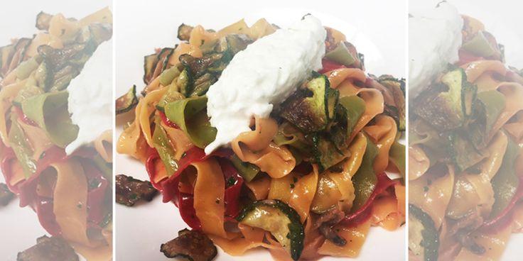Tagliatelle Primavera con acciughe, zucchine e stracciatella di burrata - Ricetta dello Chef Fulvio Siccardi