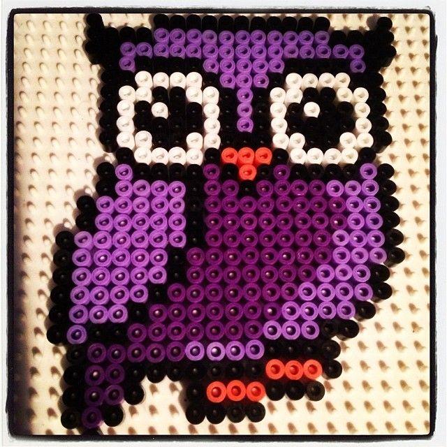 Purple owl perler beads by tutluva