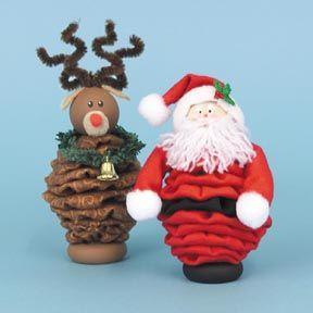 Reindeer & Santa ornaments made with yoyos