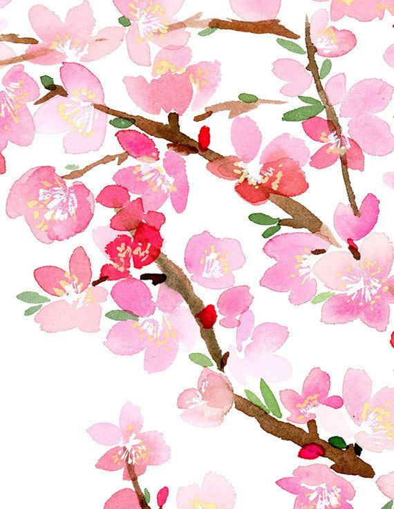 Handmade Watercolor Archival Art Print Cherry by YaoChengDesign