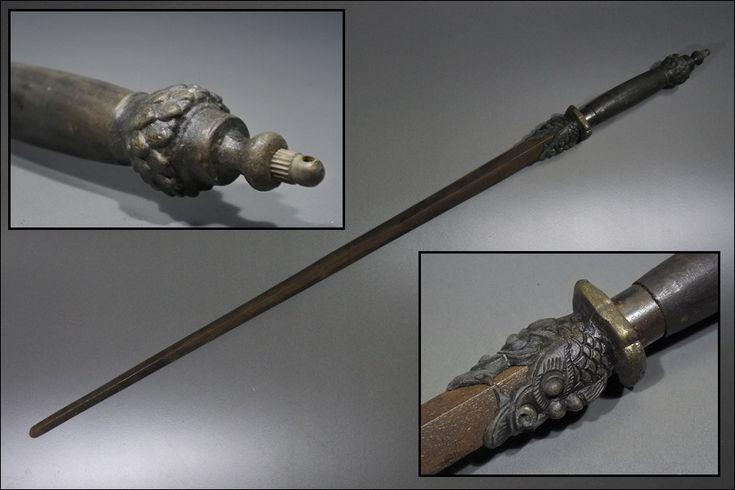時代品 武具 鉄製兜割棒 鉄十手 鉄剣 武器 護身用具 置物 飾物 82,7cm_1