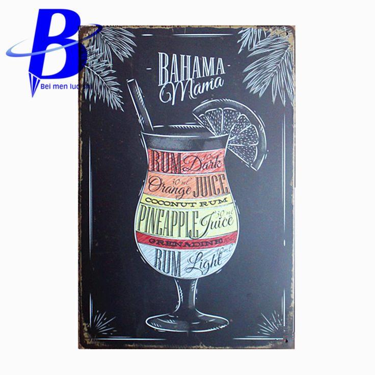 Różdżka Decoratie Rocznika BAHAMA MAMA W Stylu Vintage Plakietki emaliowane Retro Plate Metal Malarstwo Ścienne Dekoracje na Pasku Steelers Neon Ajax