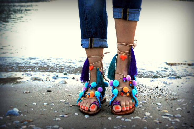 Boho Unique leather sandal : Antipaxos