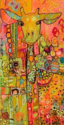 jennifer mercede: Awesome Giraffes, Artists, Art Lessons, Jennifer Mercedes, Jennifer'S Mercede, Colors, Mixed Media, Animal Design, Kids Rooms