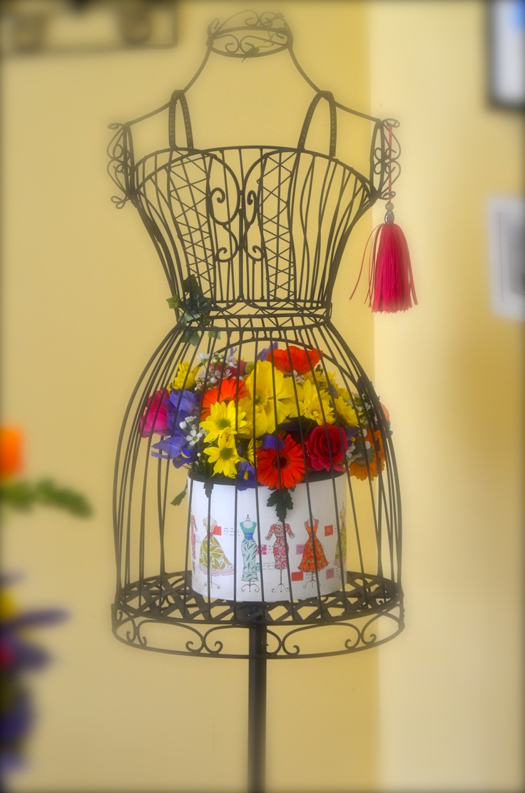 These flowers were set in a dressmakers dummy