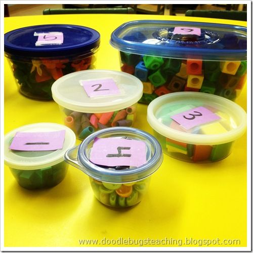 Guess/Estimate if containers have 100 items, then count to check (maybe one container for each table to count)