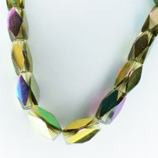 Faceted Clear Indian Glass Strand, 13x7mm, 32 Beads Per Strand, Yellow Rainbow