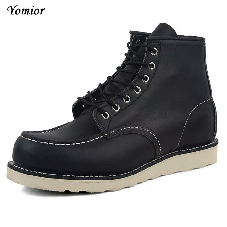 High Quality Fashion Genuine Leather Men's Boots Red Ankle Boots Outdoor Wing Motorcycle Lace-up Work Boots Winter Snow Boot 875