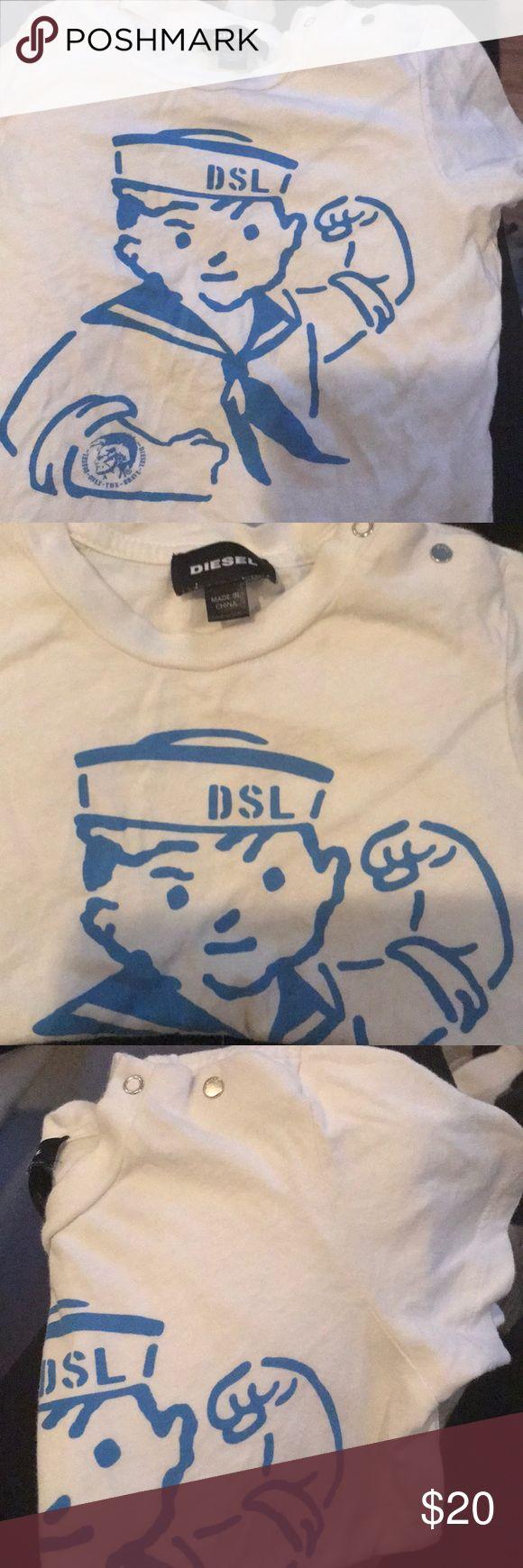 Little boys diesel T shirt Blue sailor little guy logo wore once Limited addition U neck T-shirt Diesel Shirts & Tops Tees - Short Sleeve