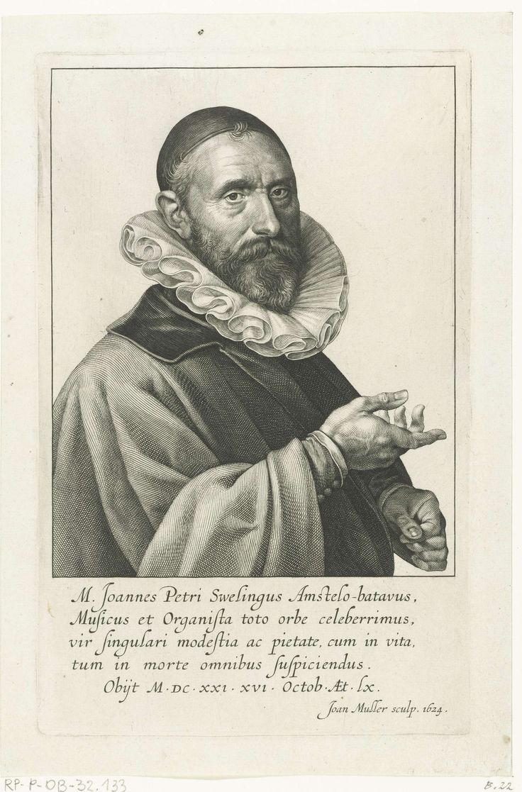 Jan Harmensz. Muller   Portret van Jan Pieterszoon Sweelinck, Jan Harmensz. Muller, 1624   Portret van Jan Pieterszoon Sweelinck, organist en componist te Amsterdam.
