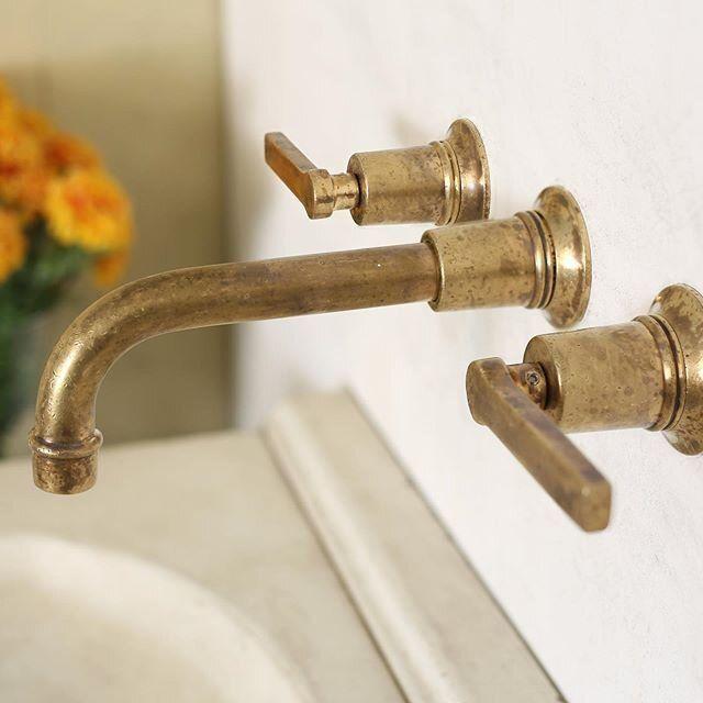 Bathhouse Lever Handle Wall Mount Faucet Atmosphyre In 2020 Brass Faucet Antique Brass Faucet Wall Mount Faucet Bathroom
