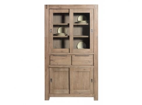 Schuifkast 2 deurs  Description: Schuifkast met 4 deuren en 2 laden De kast is 110cm Deze kast is gemaakt van Acacia hout. De kast heeft een grijze gloed over het hout heen.  Price: 749.00  Meer informatie  #woononline