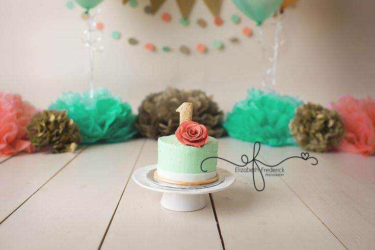 Mint smash cake with coral rose and gold #1