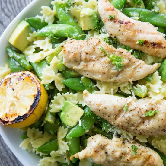 This delicious pasta served with grilled chicken and lemon is the perfect dish to serve for any special occasion.