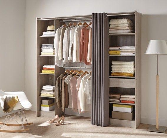 "Dressing chêne grisé + rideau modèle ""EKLIPS"""