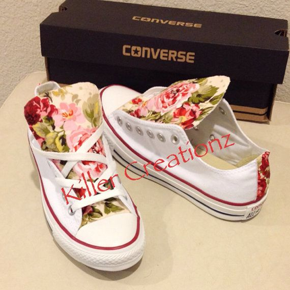 Custom Converse low tops with floral print ANY by KillerCreationz, $90.00