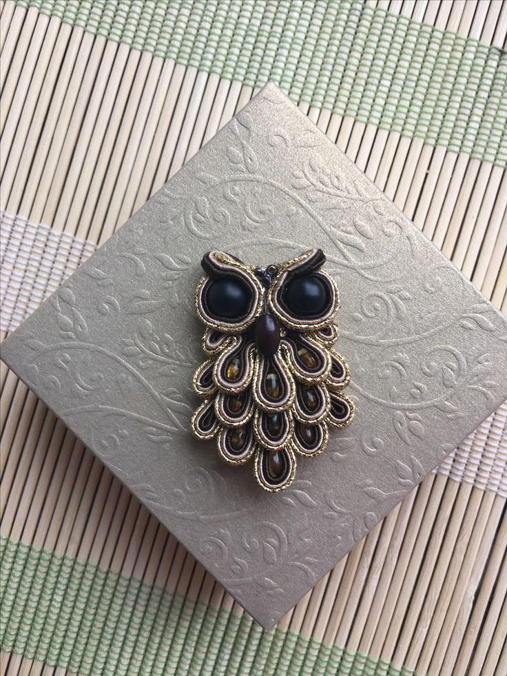 Soutache brooch rękodzieło owl