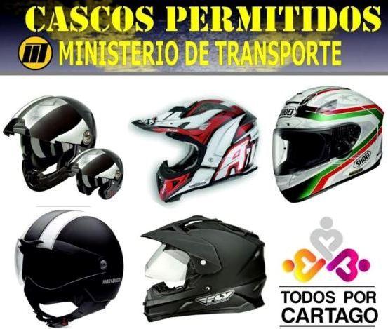 Motociclistas deben usar cualquiera de los tres tipos de cascos reglamentarios que exige el Ministerio del Transporte