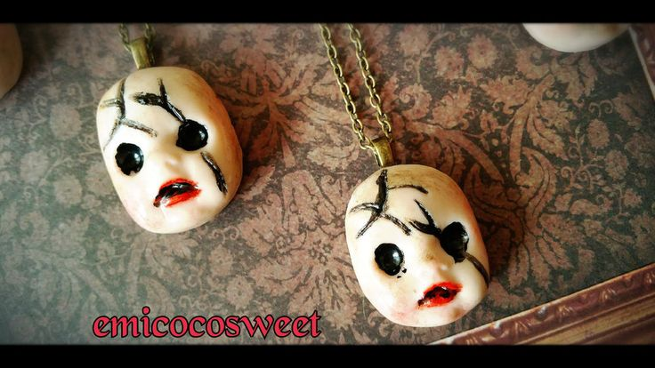 Creepy Baby Dead Doll Necklaces,Victorian Gothic Necklaces,Gothic Punk Rock Emo #Handmadebyemicocosweet  maybe recreate and make matching studs?...maybe add a little blood too...hm...