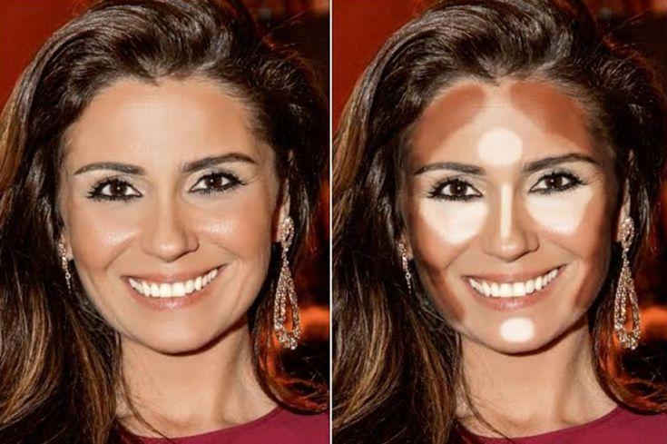 7 formatos de rosto, como contornar e iluminar cada um deles! - SUPERELA | Contorno para rosto redondo, Maquiagem para rosto redondo, Maquiagem rosto