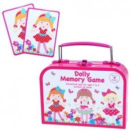 This cute Dolly Memory Game is sure to keep your little princess and her friends amused. The game contains 15 assorted pairs of cards so you can play snap, patience or fish.   Comes in a cute carry box with metal clip fastener and carry handle.  Perfect for at home or on the go.