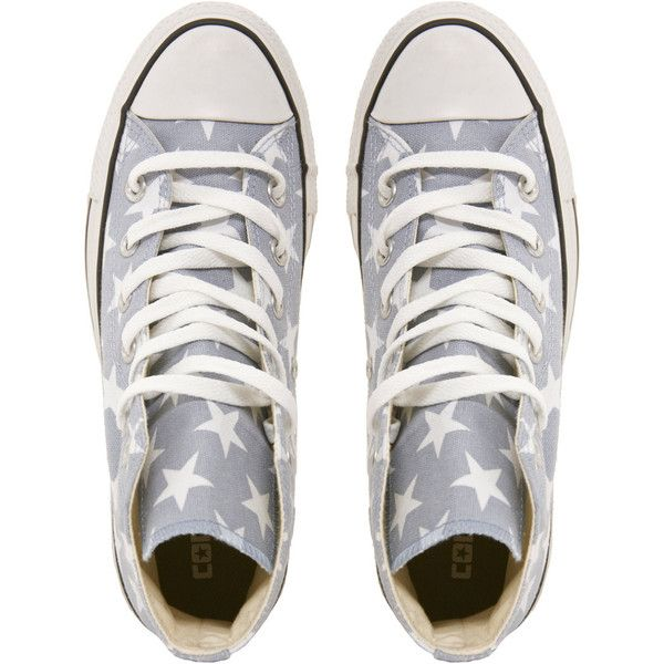 Converse All Star Grey Star Print High Top Trainers ($48) found on Polyvore