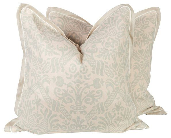 Sea Foam Green Linen Baroque Pillows
