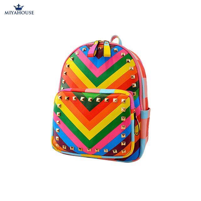 nieuwe stijlvolle vrouwen beroemde ontwerper populaire rugzak regenboog kleurrijke schoudertas trave mode regenboog schooltas bolsas