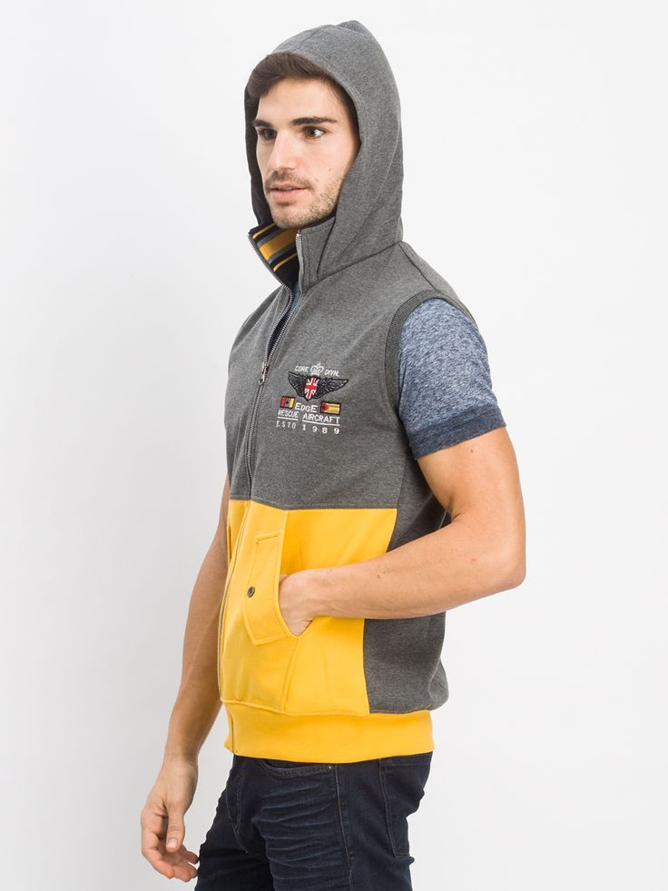 Sleeve less jacket with collar and hood