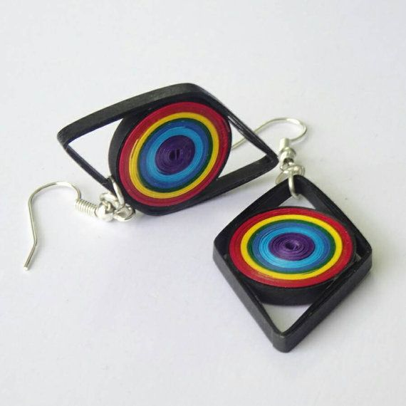 Diamond shaped colorful earrings made from quilling strips