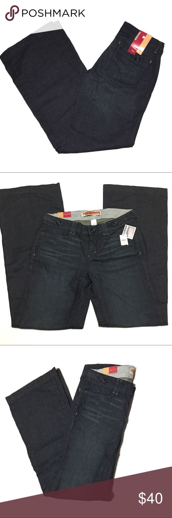 """Gap Trouser Cut Dark Wash Jeans   - Size 6 - NWT Gap Trouser Cut Jeans   • Dark wash • Slash front pockets and button tab details on back pockets • Zip fly with button waist and button tab details • Mid Rise • Style:  659991 • 98% Cotton  2% Spandex • Size 6 • Approximate Measurements Flat Across                            Waist Flat – 15.5""""           Hips Flat – 19""""           Thighs Flat – 9.75""""           Leg Opening Flat – 11""""           Front Rise – 8.5""""           Back Rise – 13.75""""…"""