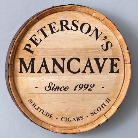 Mancave – Personalized Whiskey Barrel Sign
