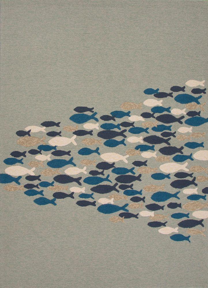Coastal Lagoon Go Fish Cameo Green/Orion Blue Area Rug